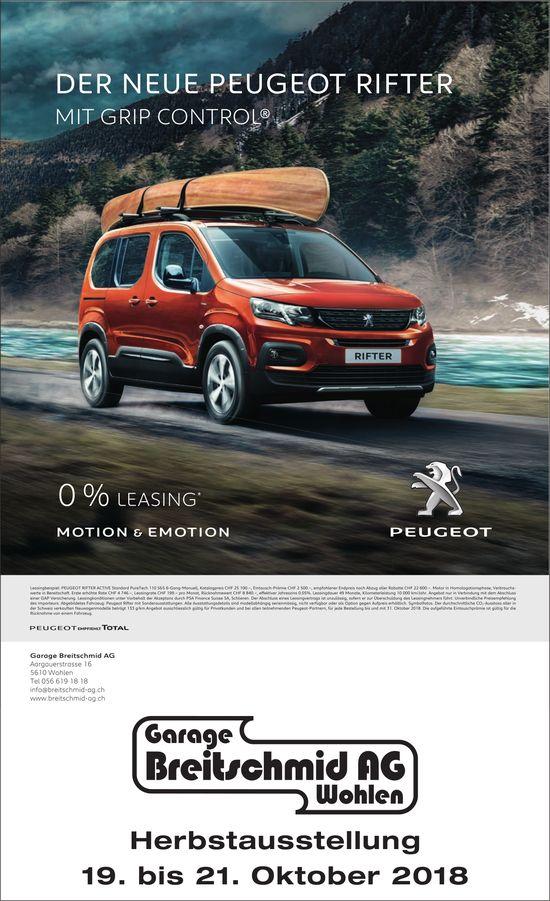 Der neue Peugeot Rifter mit Grip Control®, Herbstausstellung, Garage Breitschmid AG