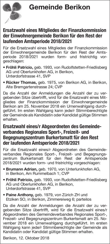 Gemeinde Berikon: Ersatzwahl eines Mitgliedes der Finanzkommission