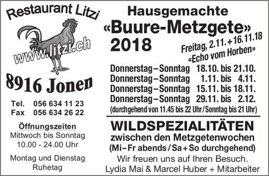 Hausgemachte «Buure-Metzgete», 2. + 16. November, Restaurant Litzi
