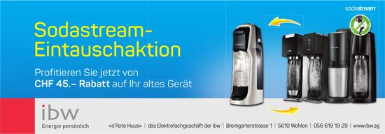 «s'Rote Huus», das Elektrofachgeschäft der ibw - Sodastream- Eintauschaktion