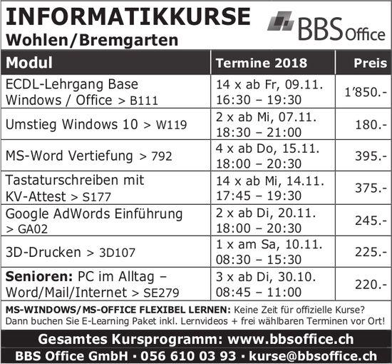 BBS Office GmbH - INFORMATIKKURSE IN WOHLEN / BREMGARTEN