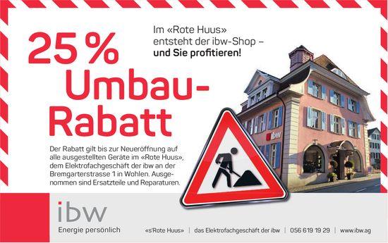 Im «Rote Huus» entsteht der ibw-Shop – und Sie profitieren! 25% Umbau-Rabatt