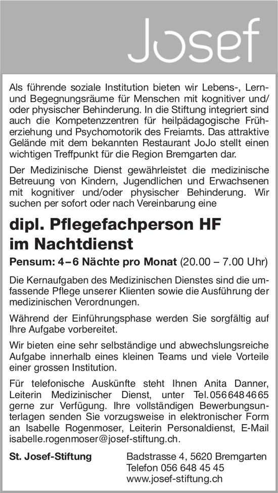 Dipl. Pflegefachperson HF im Nachtdienst bei St. Josef-Stiftung gesucht