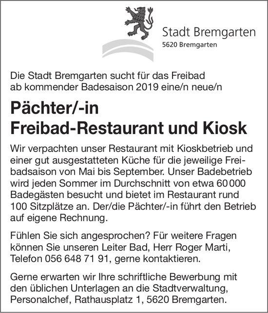 Pächter/-in Freibad-Restaurant und Kiosk für das Freibad Stadt Bremgarten