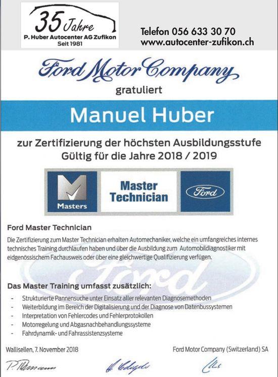 Ford Motor Company gratuliert Manuel Huber