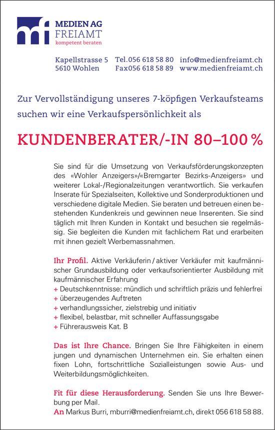Kundenberater/in, 80-100%, Medien AG Freiamt