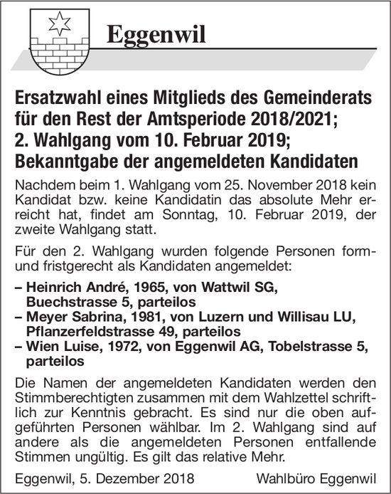 Ersatzwahl eines Mitglieds des Gemeinderats für den Rest der Amtsperiode 2018/2021