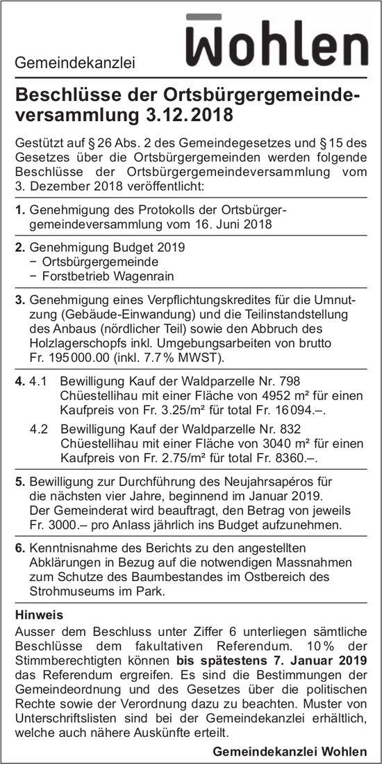 Gemeindekanzlei Wohlen - Beschlüsse der Ortsbürgergemeindeversammlung 3.12. 2018