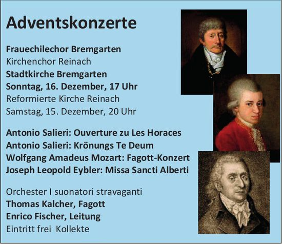 Adventskonzerte, 15./16. Dez., Ref. Kirche Reinach / Stadtkirche Bremgarten