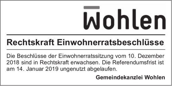Gemeindekanzlei Wohlen - Rechtskraft Einwohnerratsbeschlüsse