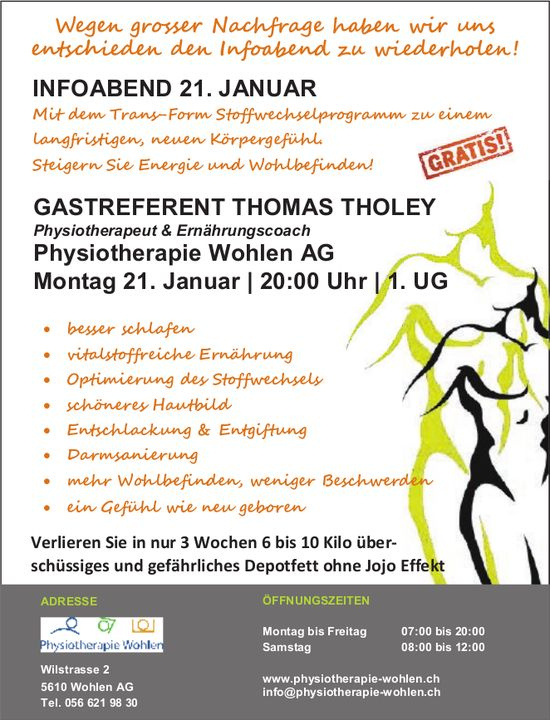 Physiotherapie Wohlen AG - INFOABEND MIT GASTREFERENT THOMAS THOLEY AM 21. JANUAR