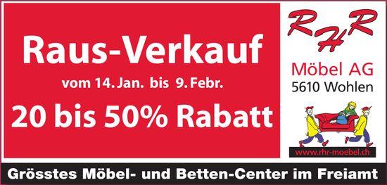 RHR Möbel AG - Raus-Verkauf vom 14. Jan. bis 9. Febr.