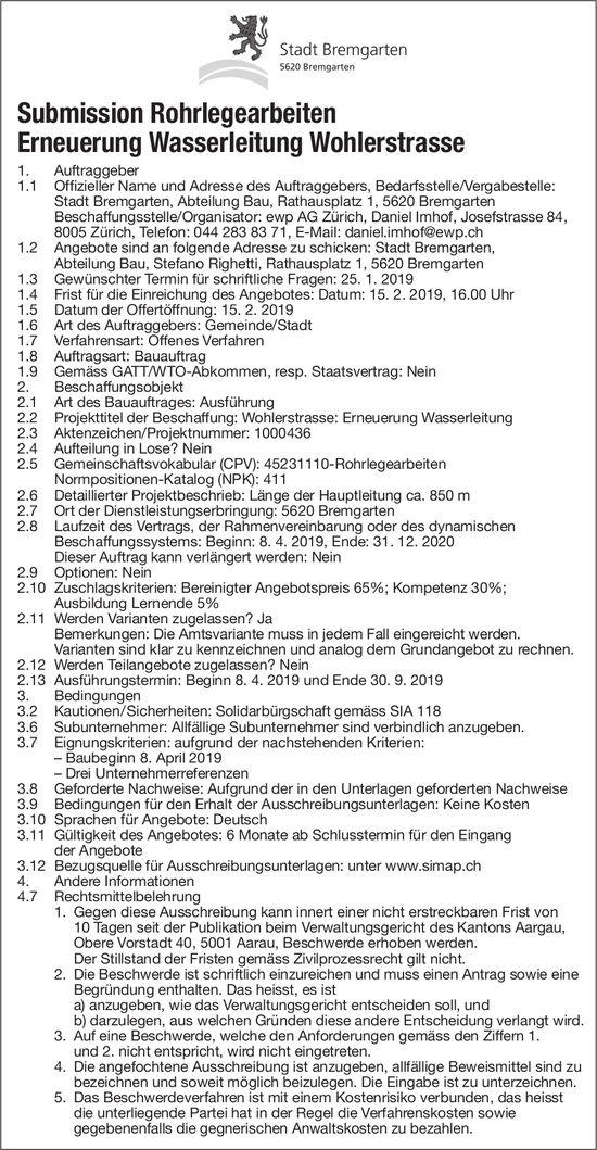 Bremgarten - Submission Rohrlegearbeiten Erneuerung Wasserleitung Wohlerstrasse