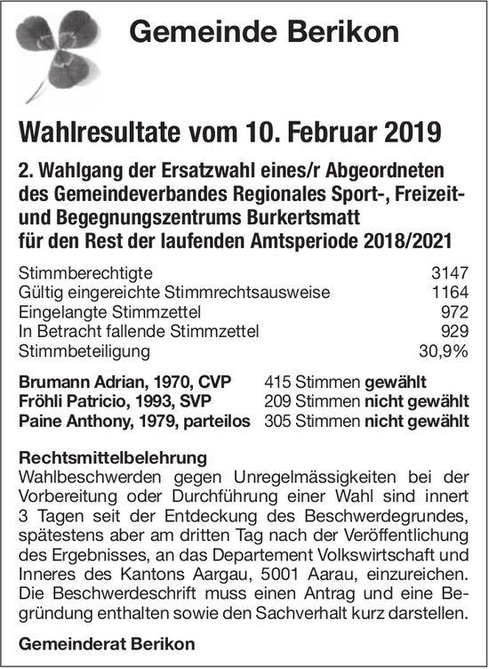 Gemeinde Berikon - Wahlresultate vom 10. Februar