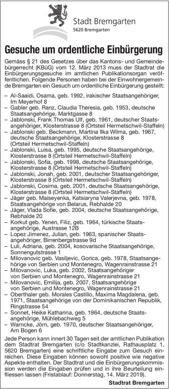 Stadt Bremgarten - Gesuche um ordentliche Einbürgerung