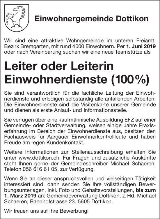 Leiter oder Leiterin Einwohnerdienste (100%) bei Einwohnergemeinde Dottikon gesucht