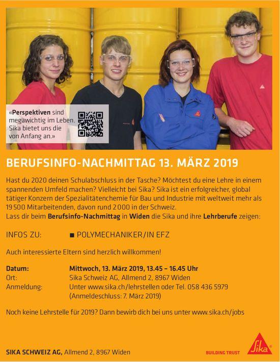 Berufsinfo-Nachmittag am 13. März bei Sika Schweiz in Widen
