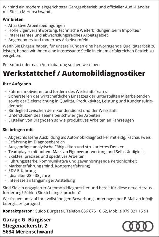 Werkstattchef / Automobildiagnostiker bei Garage G. Bürgisser gesucht