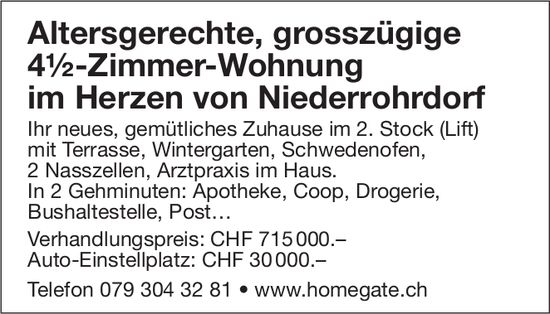 Altersgerechte, grosszügige 4½-Zimmer-Wohnung im Herzen von Niederrohrdorf zu verkaufen