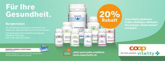 Coop Vitality Apotheken - Burgerstein für Ihre Gesundheit, 20% Rabatt