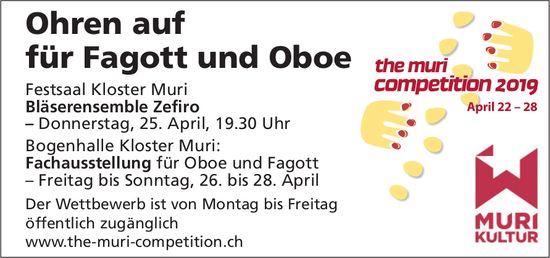 Fachausstellung für Oboe und Fagott, 25/28 April, Kloster Muri