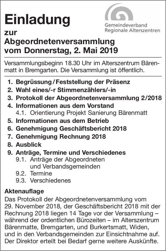 Einladung zur Abgeordnetenversammlung, 2. Mai, Alterszentrum Bärenmatt, Bremgarten