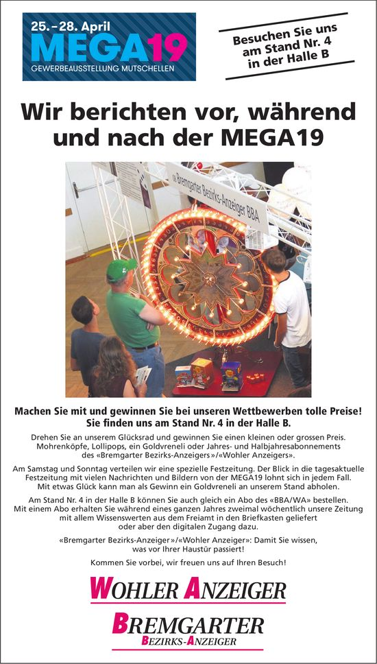 MEGA19 - Gewerbeausstellung Mutschellen vom 25. bis 28. April