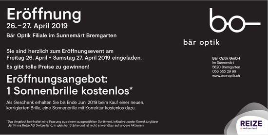 Bär Optik GmbH in Bremgarten - Eröffnung am 26./27. April