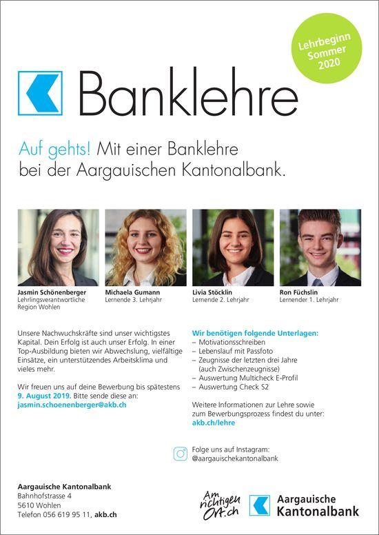 Banklehre bei der Aargauischen Kantonalbank