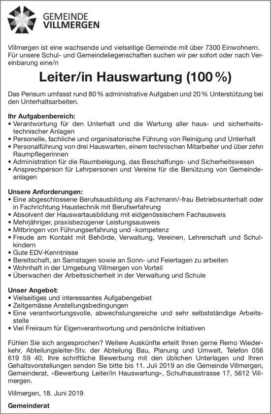 Leiter/in Hauswartung (100 %) bei Gemeinde Villmergen gesucht