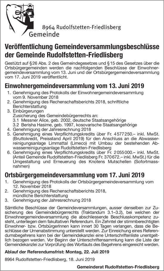 Rudolfstetten-Friedlisberg - Veröffentlichung Gemeindeversammlungsbeschlüsse der Gemeinde