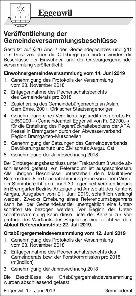 Eggenwil - Veröffentlichung der Gemeindeversammlungsbeschlüsse