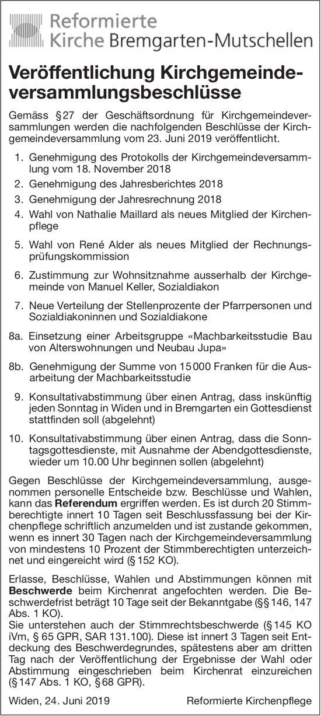 Bremgarten-Mutschellen - Veröffentlichung Kirchgemeindeversammlungsbeschlüsse