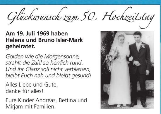 Glückwunsch zum 50. Hochzeitstag: Helena und Bruno Isler-Mark