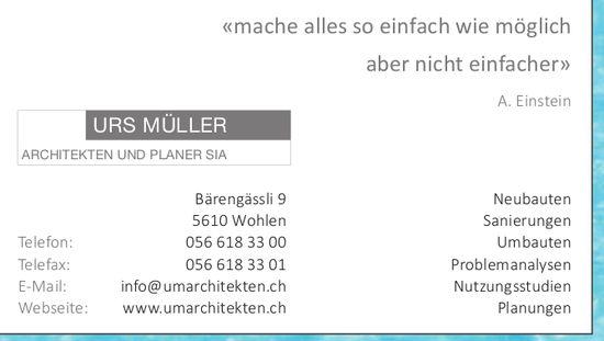 Urs Müller Architekten und Planer SIA