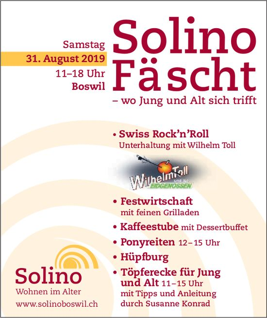 Solino Fäscht am 31. August in Boswil