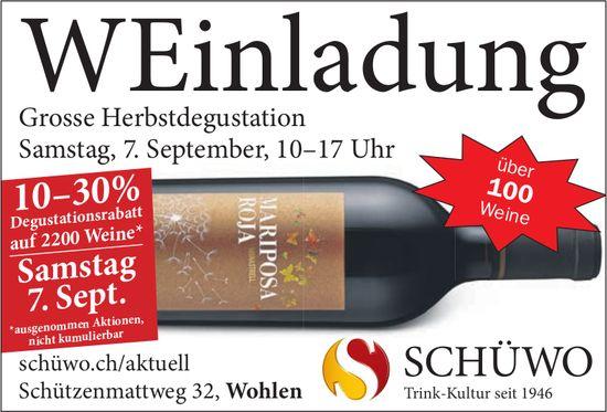 Schüwo - Grosse Herbstdegustation am 7. September
