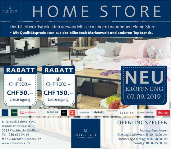 Billerbeck Schweiz AG - HomeStore Eröffnung am 7. September
