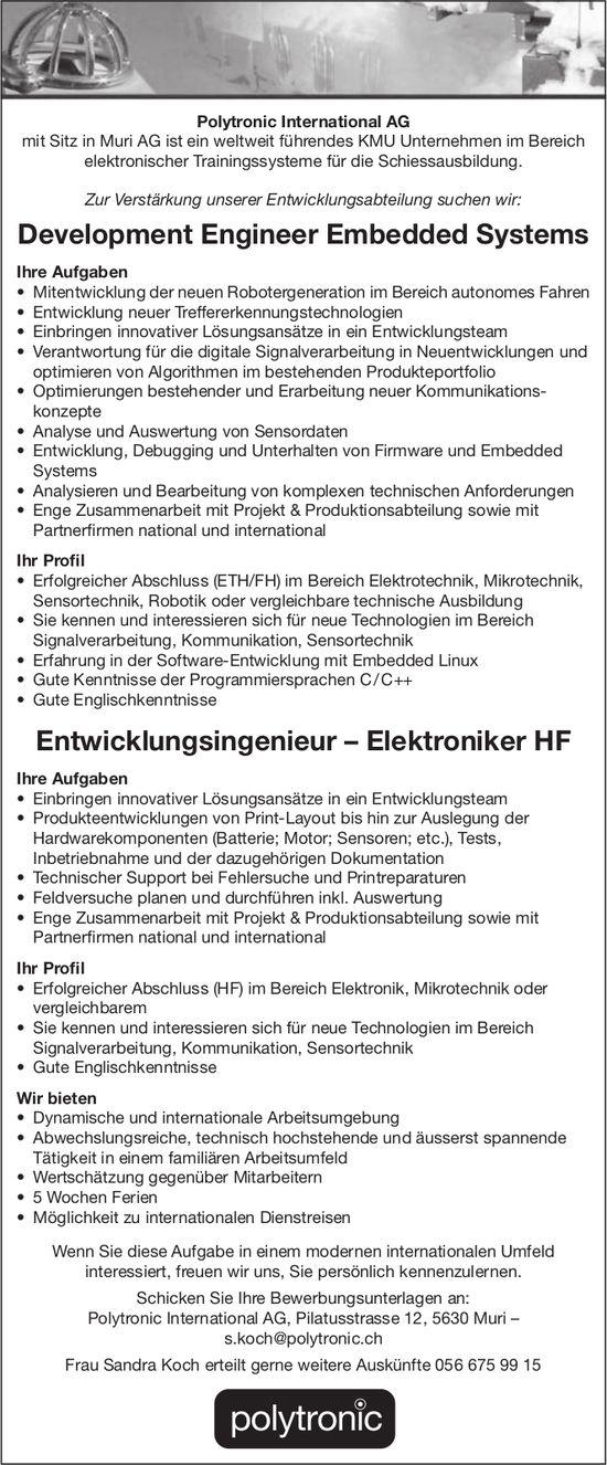Entwicklungsingenieur – Elektroniker HF gesucht