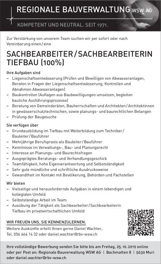 SACHBEARBEITER / SACHBEARBEITERIN TIEFBAU (100%) gesucht