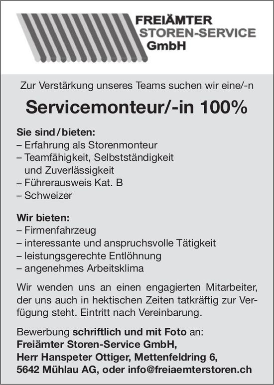 Servicemonteur/-in 100% gesucht