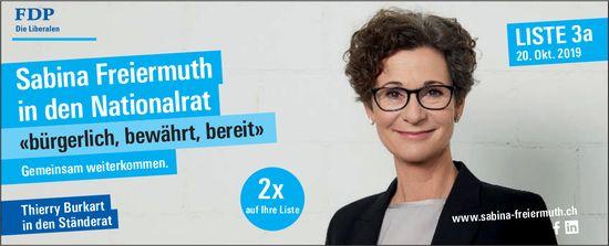 Sabina Freiermuth in den Nationalrat