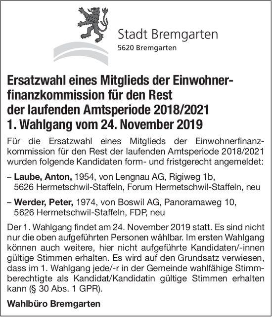 Stadt Bremgarten - Ersatzwahlen