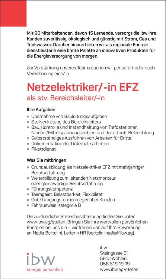 Netzelektriker/-in EFZ als stv. Bereichsleiter/-in gesucht