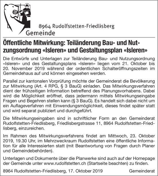 Öffentliche Mitwirkung: Teiländerung Bau- und Nutzungsordnung «Isleren»