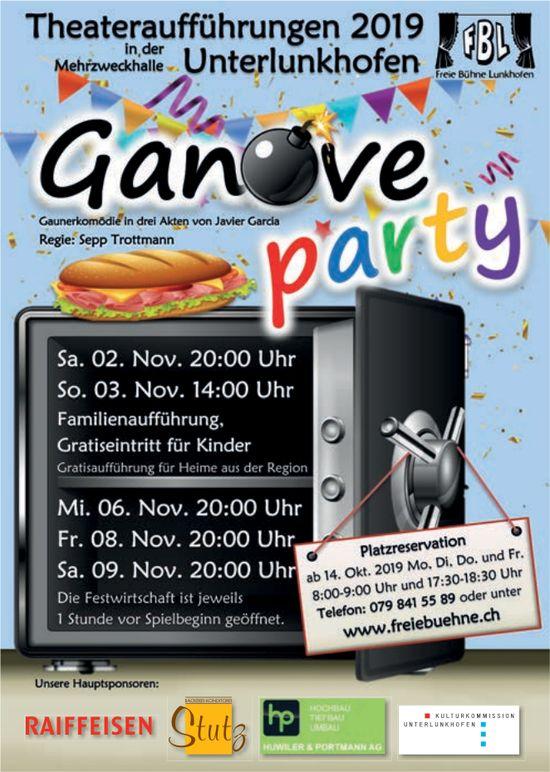 """""""Ganoveparty"""" - Theateraufführungen in Unterlunkhofen"""