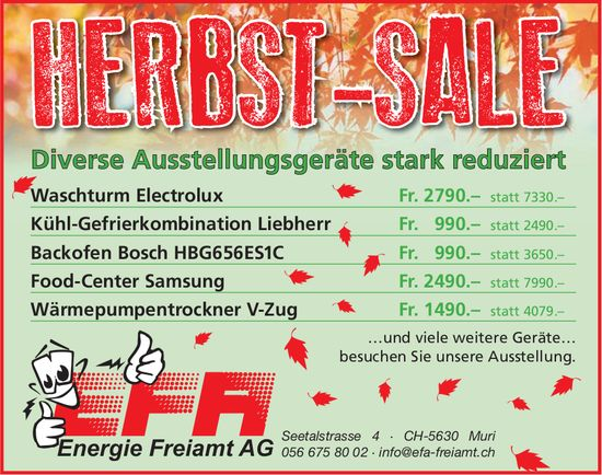 Herbst-Sale bei Energie Freiamt AG in Muri