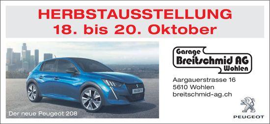 Herbstaustellung vom 18. bis 20. Oktober bei Garage Breitschmid AG in Wohlen
