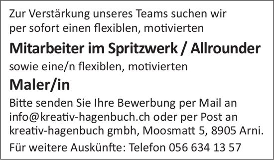 Mitarbeiter im Spritzwerk/Allrounder gesucht