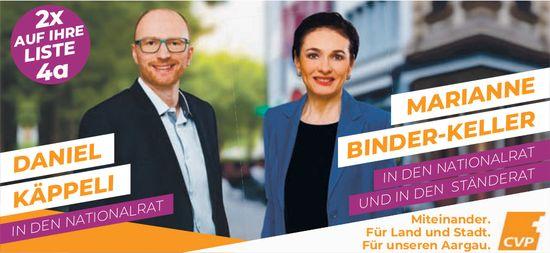 Daniel Käppeli und Marianne Binder-Keller in den Nationalrat